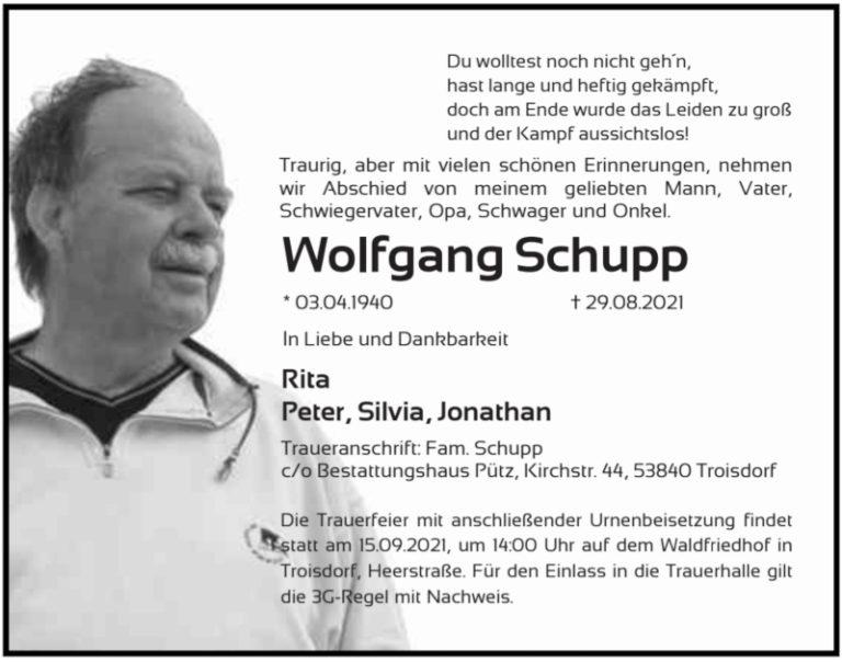 Der Verein trauert um Wolfgang Schupp